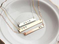 Birthstone Bar Necklace - Keepsake Personalized Bar Necklace Gold Bar Necklace…