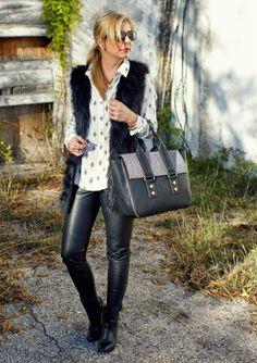Black & white. Leather leggings & black fur vest. Fall & winter outfit idea.