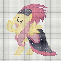 Buzy Bobbins: Fluttershy in a fancy dress My Little Pony cross stitch design