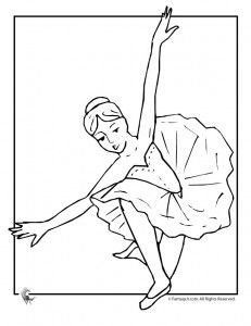 ballerina coloring page 231x300 Ballet Coloring Pages