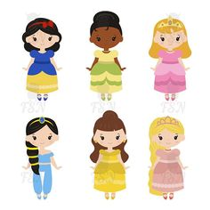 Cute collection of beautiful princesses. Princesses Digital