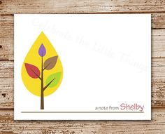 Mod Tree Note Cards  Set of 8  Leaf Tree by CelebrateLilThings