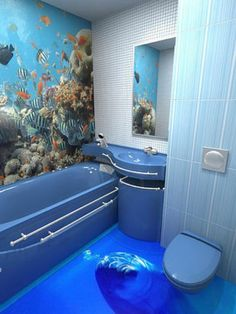 Maybe move the dolphin so it isn't looking at you as you pee. Amazing floor art though! 3d Floor Art, Floor Murals, Wall Murals, 3d Flooring, Bathroom Flooring, Epoxy Floor Designs, Toilette Design, Floor Wallpaper, 3d Home