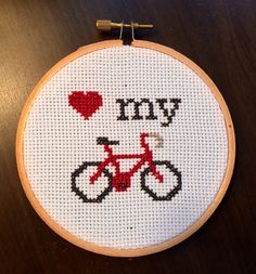 PATTERN Love My Bike Mini Tiny Cross Stitch Hoop door stephXstitch