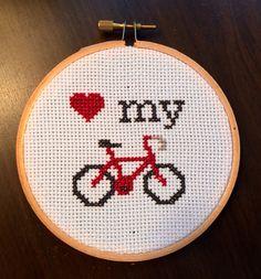 PATTERN Love My Bike Mini Tiny Cross Stitch Hoop door stephXstitch