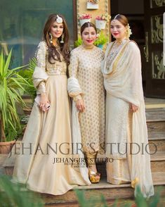 Gud hair do and styling of the third frm left Pakistani Formal Dresses, Pakistani Wedding Outfits, Pakistani Dress Design, Indian Dresses, Indian Outfits, Pakistani Couture, Pakistani Bridal, Indian Attire, Indian Ethnic Wear