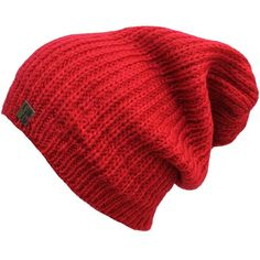Red Acrylic Mohair Slouch Knit Beanie Cap Hat ($14) ❤ liked on Polyvore featuring accessories, hats, red, skull beanie, knit cap, slouchy beanie, red hat, skull cap and knit slouchy beanie