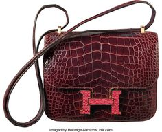 Hermes Limited Edition 18cm Shiny Bordeaux Alligator & Rouge HLizard Marquette Constance Bag with Gold Hardware. T,2015...