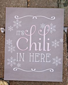 """Girl Winter ONEderland/ Winter Wonderland 1st Birthday Party Sign. """"It's Chili In Here"""" Chili Bar. 8x10 / Physical Product. Pink/grey by CharmingTouchParties on Etsy"""