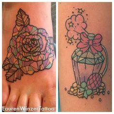 Really cute perfume bottle tattoo by @Lauren Davison Davison Davison Winzer
