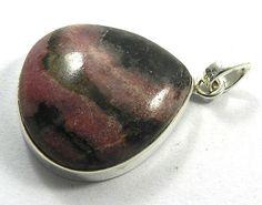 Natural Rhodonite 22x23mm heart cab gemstone 925 silver fashion pendant jewelry #Handmade #Pendant
