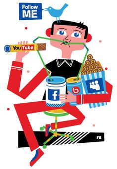 ¿Eres adicto a las redes sociales? Si vives, comes y duermes viendo tu TL en Twitter, tu News Feed en Facebook y descargando videos de Youtube la respuesta es sí. Una ilustración de Freddy Boo http://www.freddyboo.com