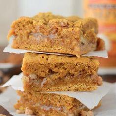 Pumpkin Toffee Gooey Bars.. these look delish! & let's be honest, anything pumpkin is  always so tasty!