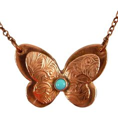 Copper Butterfly With Turquoise Cabochon Necklace