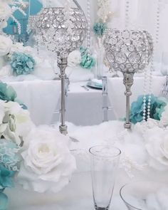 Tiffany & Co. in a Winter Wonderland Bridal Shower Both Tiffany & Co. and Winter Wonderland inspired Bridal Shower by Diamant du Parris Inc. Bride to Be, Bride & Co. Winter Wonderland Wedding Theme, Winter Wonderland Centerpieces, Winter Wedding Decorations, Bridal Shower Decorations, Wedding Centerpieces, Tiffany Blue Centerpieces, Winter Themed Wedding, Reception Decorations, Tiffany Theme