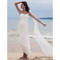 Sheath/ Column Sweetheart Ankle-length Chiffon Wedding Dress With A Wrap – USD $ 99.99