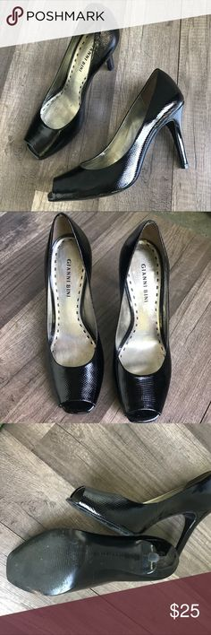 """Like New Gianni Bini Black Patent Peep Toe Shoes Like Brand New Gianni Bini Black Patent Peep Toe Come heel 4.5"""" Tall   Classic Pinup shoes that work every kind of look. Patent leather dresses up any outfit.   Size 8 Originally $50.00  I had this in my Actors prop wardrobe and these were worn once by Actress on set.   I'm a professional makeup artist and wardrobe stylist for film and print. Come follow my antics in film on my instagram under my company Bombshell Factory. Gianni Bini Shoes…"""