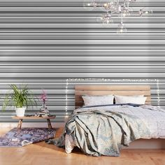 IMPORTANT: make sure to order enough panels to cover your wall or surface (size options below). Our peel and stick Wallpaper is easy to apply and take off, leaving no adhesive residue. Featuring sharp, vibrant images, Wallpaper patterns are ideal for accent walls, flat surfaces and temporary installations (like parties!). Available in three floor-to-ceiling sizes. - Panel size options in feet: 2' (W) x 4' (H), 2' x 8', 2' x 10' - Printed on... Mint Wallpaper, Striped Wallpaper, Blue Wallpapers, Peel And Stick Wallpaper, Wallpaper Patterns, Black White Stripes, Blue Stripes, Black And White, Fabric Panels