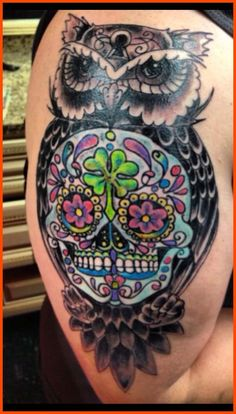 Sleeve Sugar Skull Owl Tattoo