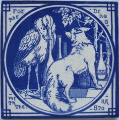 Terrific aesthetic movement transfer tile in indigo blue on a white clay body from the Aesop's Fables series by Mintons China Works. The designs for this series are attributed to Thomas Allen. Here is...