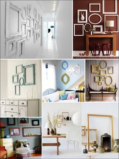 why did i not think of this? picture-less frames as wall decorations...