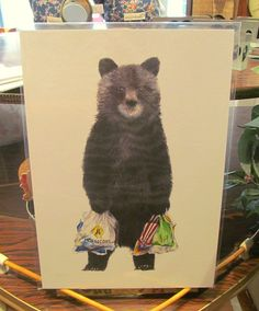 Laura from Pink Flamingo adores this bear who's just popped down to the supermarket. Illustration by Becci Mary-Anne.