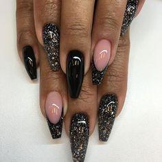 nye nails coffin \ nye nails - nye nails new years - nye nails glitter - nye nails gold - nye nails coffin - nye nails acrylic - nye nails black - nye nails classy Fabulous Nails, Gorgeous Nails, Pretty Nails, Cute Acrylic Nails, Glitter Nails, Colorful Nail Designs, Nail Art Designs, Dope Nails, Polygel Nails
