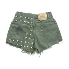 Olive Khaki Green High waisted studded shorts (£53) ❤ liked on Polyvore featuring shorts, bottoms, high waisted khaki shorts, green camo shorts, high waisted studded shorts, high-rise shorts and high rise shorts