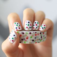 Create a bright summer manicure inspired by polka dot washi tape.