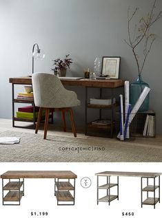 West Elm Hewn Wood Desk | $1,199 Vs @overstock Renate Wood Metal Office Desk | $450