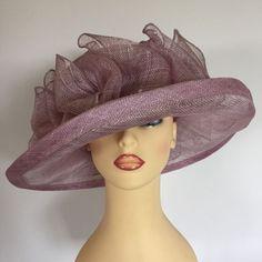 Ladies Wedding Hat Races Mother Bride Ascot Hat Dusty Pink Pearls Loops
