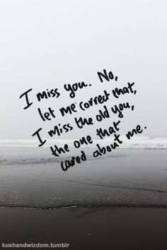 I miss you. No, let me correct that, I miss the old you, the one that cared about me. You broke my heart.