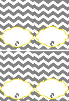 Yellow and Grey Baby Shower, Chevron baby shower - Full Printable Collection