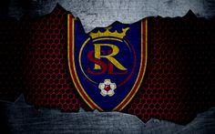 Download wallpapers Real Salt Lake, 4k, logo, MLS, soccer, Western Conference, football club, USA, grunge, metal texture, Real Salt Lake FC
