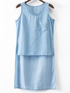 Light Blue Sleeveless Pocket Irregular Hem Denim Blouse.