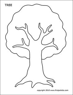 Tree Print Out - Tree Templates Printable Butterfly Coloring Page, Tree Coloring Page, Flower Coloring Pages, Coloring Pages For Kids, Easter Templates, Animal Templates, Tree Templates, Templates Free, Applique Templates