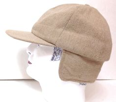 Men Med fits 7-1/8 to 7-1/4 BEIGE BROWN EAR FLAP HAT Wool Winter Trapper Hunting #Haband #AviatorTrapper