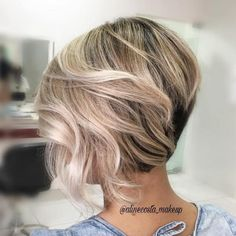 Short Inverted Blonde Balayage Bob