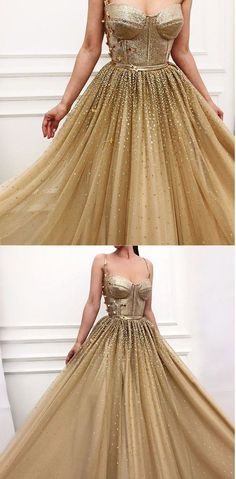Charming Long Gold Spaghetti Straps Gorgeous Sparkly Modest Prom Dress – FLYDP Customized service and Rush order are available. *** Customers need to know : All of the dresses don't come Prom Dresses 2018, Modest Dresses, Elegant Dresses, Beautiful Dresses, Bridesmaid Dresses, Formal Dresses, Dress Prom, Wedding Dresses, Gold Evening Gowns