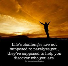 Life's challenges are not supposed to parralyze you, they're supposed to help you discover who you are.