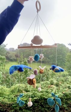 Excited to share this item from my #etsy shop: Needle felted blue tit baby mobile, birds and bees baby mobile, woodlands nursery Handmade Felt, Handmade Christmas, Felt Bunting, Bird Mobile, Birds And The Bees, Blue Tit, Felt Baby, Felt Birds, Wooden Hoop