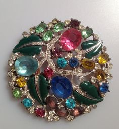 1940s Vintage RHINESTONE and ENAMELED Brooch by thepopularjewelry, $95.00