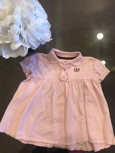 ef7e950c10907 Adorable Baby Girls I zod Pink Polo Dress with Brown Logo Ruffle buttons  down front and puff sleeves in size If they are pre-owned they are in good  to mint ...