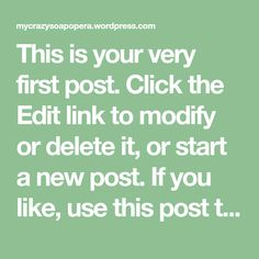 This is your very first post. Click the Edit link to modify or delete it, or start a new post. If you like, use this post to tell readers why you started this blog and what you plan to do with it. Happy blogging!