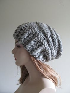 Slouchy Grey Beanie Slouch Hats Oversized Baggy womens by Lacywork