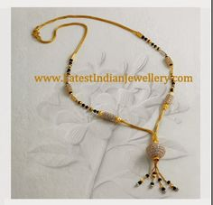 Latest Indian Gold and Diamond Jewellery Designs: Trendy Black Beads/Mangalsutra Gold Ring Designs, Gold Bangles Design, Gold Earrings Designs, Gold Jewellery Design, Diamond Jewellery, Gold Jewelry Simple, Black Gold Jewelry, Beaded Jewelry, Beaded Necklace