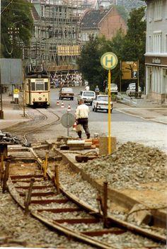 Tram track repairs in Gotha DDR, with Gotha T57 tram nr 46 | August 1989
