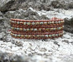 Triple Wrap Leather Bracelet Rustic Mens Braclet by LReneDesigns