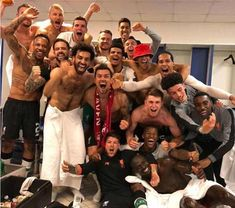 Liverpool players celebrate in the away dressing room after a thrilling Champions League semi-final, second-leg in Rome Liverpool Players, Fc Liverpool, Liverpool Football Club, Gerrard Liverpool, Liverpool Champions, Liverpool History, Real Madrid Champions League, Champions League Semi Finals, Sadio Mane