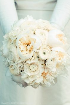 peonies, ranunculus, hydrangea.   Love to have various hues of white.from pure white, ivory to off white.